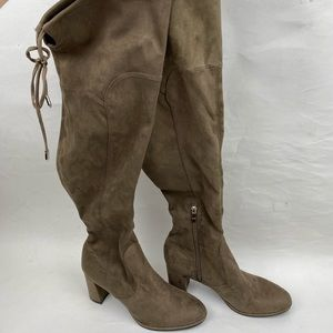 NWOT-Marc Fisher Grey Suede Over Knee Boots Size 8